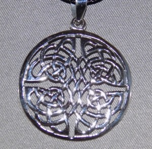 Sterling Silver Circular Ornate Celtic Knot Necklace