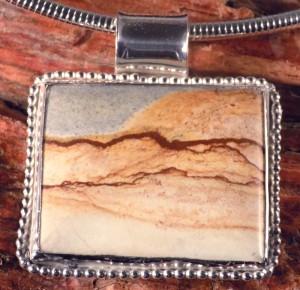 Picture Stone Jasper Pendant in Sterling Silver