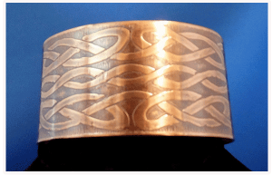 Wide Celtic Copper Cuff Bracelet with Celtic Knot Pattern