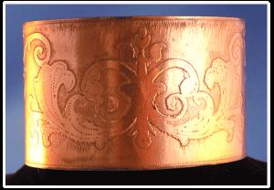 Wide Celtic Copper Cuff Bracelet with Fleur Pattern