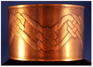 Wide Copper cuff bracelet with Celtic Knot Weave Pattern