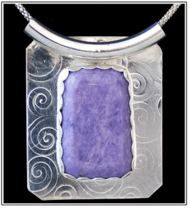 Charoite with curved bail