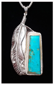 Take Flight – Kingman Turquoise and Sterling Silver Feather Pendant