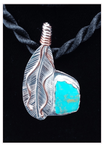 Soar - Kingman Turquoise with Sterling Silver Eagle feather with copper accents