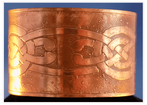 Wide Copper cuff bracelet with Celtic Knot