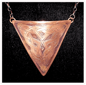 Copper Triangular Pendant with Celtic Knot