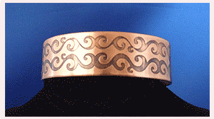 Thin Copper cuff with Celtic Scrolls pattern