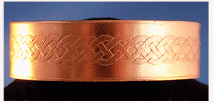 Thin copper cuff with Celtic Knot