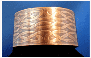 Wide Celtic Copper Cuff bracelet with multiple Celtic Knots