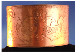 Wide Copper Cuff bracelet with Fleur pattern